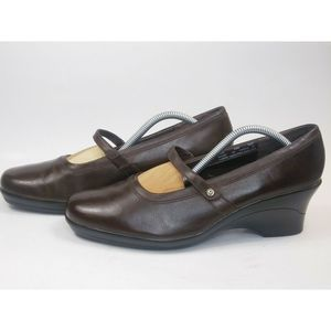CLARKS Women's Brown Leather Mary Jane Wedges 10